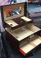Кейс шкатулка для украшений, раскладной с ящиками, цвета черный, красный, бордовый