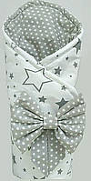 "Конверт-одеяло для новорожденного  90х90см демисезонный ""Зірковий серый"