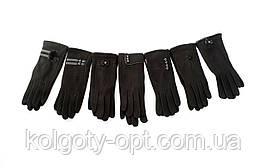 Перчатки женские трикотажные с аппликациями теплые с сенсором