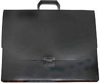 Портфель офисный E31616 A3 Economix -черная папка пластик 1отдел