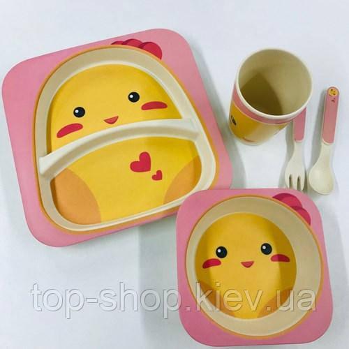 Набор детской посуды бамбуковый 5 приборов Цыпленок