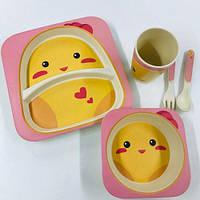 Набор детской посуды бамбуковый 5 приборов Цыпленок, фото 1