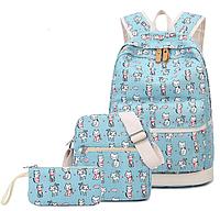 Рюкзак молодежный Котята Голубой Набор 3в1