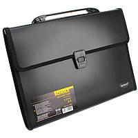 Портфель офисный №10502 A4 Scholz -черная папка пластик 3отдела
