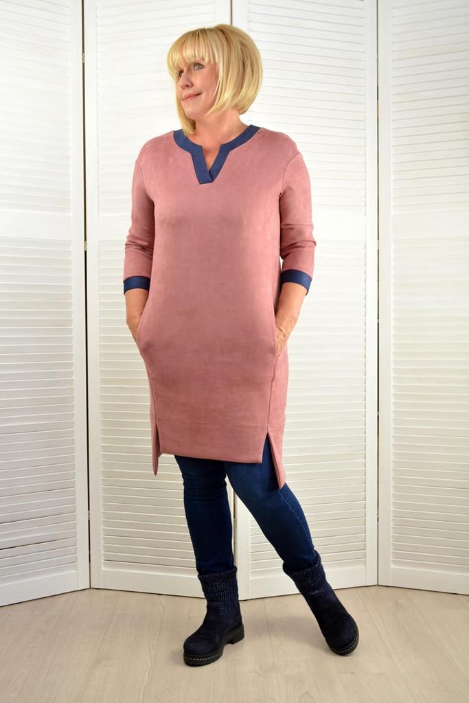 Платье-туника пудра - Модель 1501-7