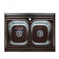 Накладная кухонная мойка Platinum на две чаши, 80*60 (cм) в покрытии polish (поированная), с толщиной 0,7(мм)