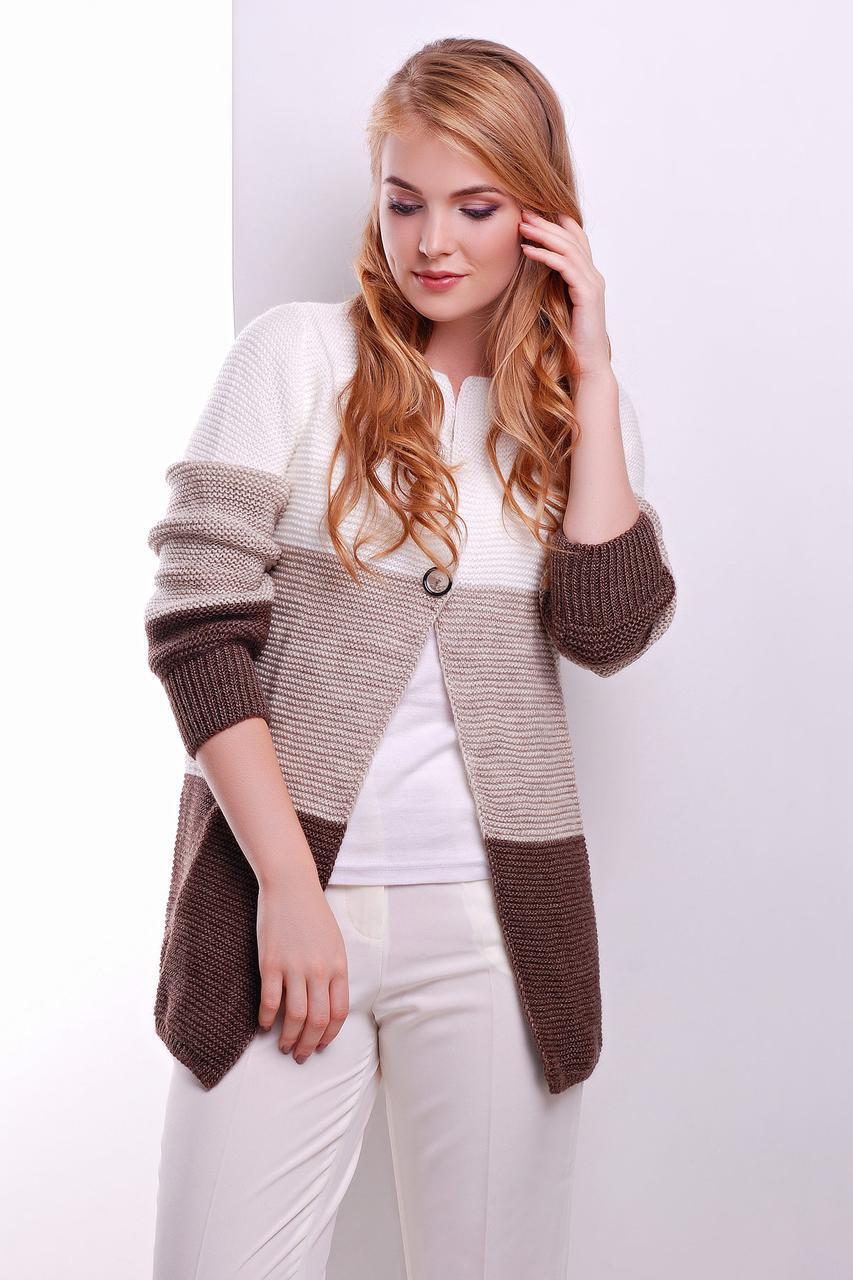 S-L / В'язаний триколірний кардиган Geremy, біло-коричневий
