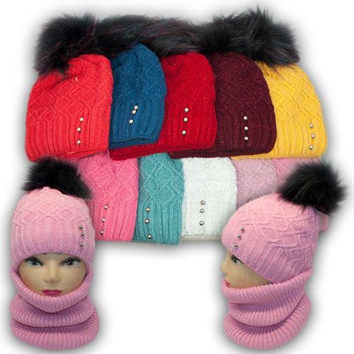 Комплект шапка и хомут с ниткой люрекс для девочки