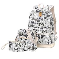 Рюкзак молодежный Черно-Белые Совята Набор 3 в 1, фото 1