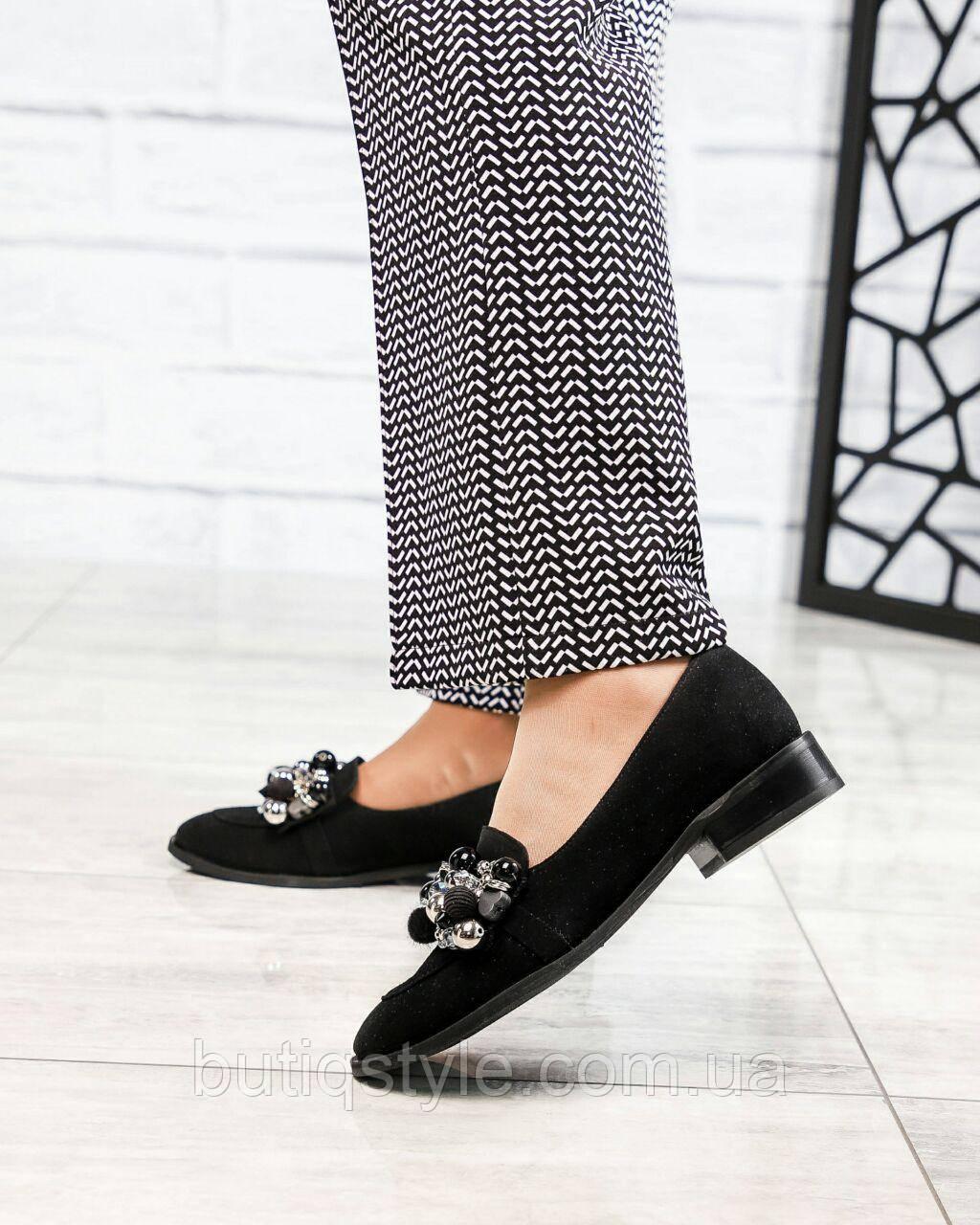 37 размер 24,3см Женские черные туфли лоферы с декором натуральный замш