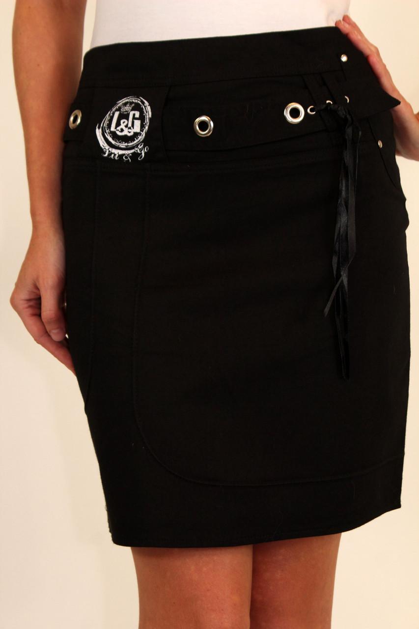 Черная юбка карандаш школьная 42-48 р