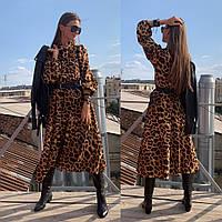 Платье женское модное леопардовое миди с пышной юбкой и поясом Smld2973, фото 1