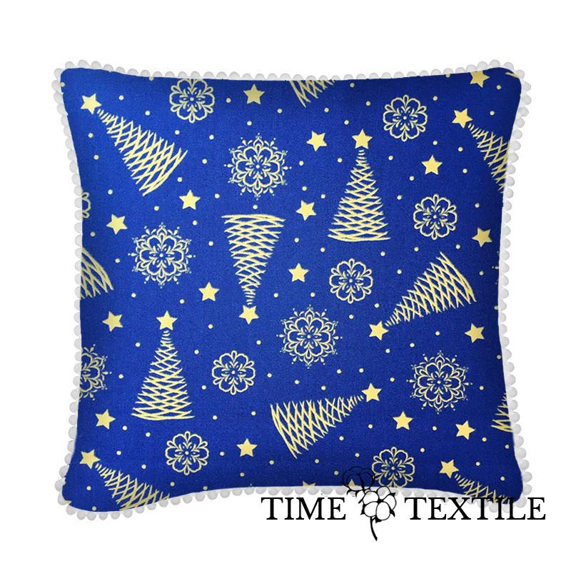 Новогодняя подушка Christmas Tree Gold Blue PomPon