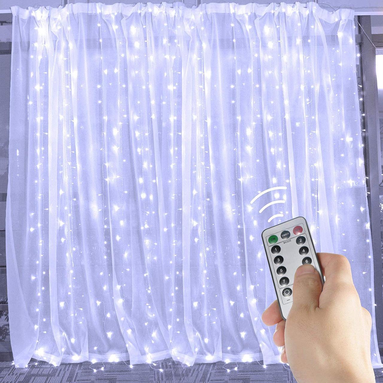 Светодиодная гирлянда LTL штора curtain капля росы 3*3 метра 300 led c пультом белая White