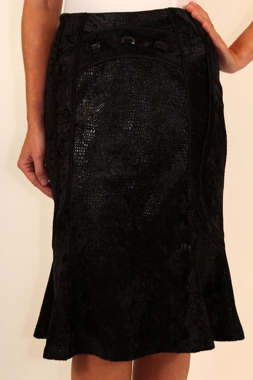 Нарядная черная юбка годе ( велюр ) 42-48 р