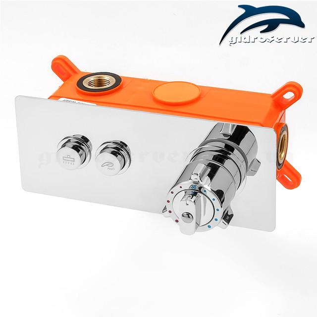 Термостатический смеситель для душа скрытого монтажа GTB-02 на 2 режима работы дивертора-переключателя.