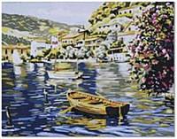"""Картина по номерам G181 """"Лодка на озере"""" 40х50см, (холст с рамкой, акриловые краски, кисть-2шт)"""