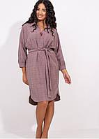 Батальное платье-рубашка в клеточку (50-56)