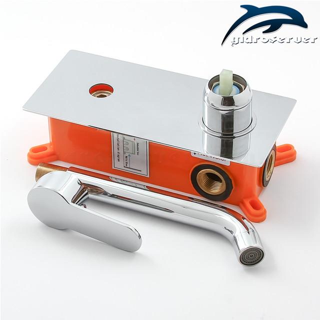 Смеситель для умывальника скрытого монтажа SGR-01 латунный, качественно покрытый хромом.