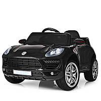 Электромобиль машинка для детей от 3 лет с пультом управления Porsche Порше Macan Bambi M 3178EBLR-2, черный