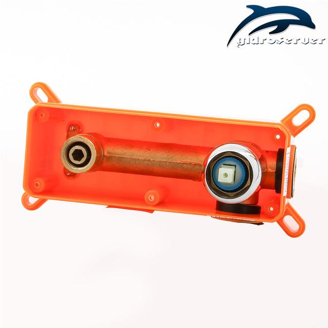 Смеситель скрытого монтажа для раковины SGR-01 с хромированной накладкой прямоугольной формы выполненной из латуни.