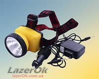 Налобный фонарь Police 508 1LED (встроенный аккумулятор+установка батарей)