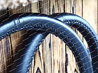 Кожаный чехол на руль (оплетка на руль) черная