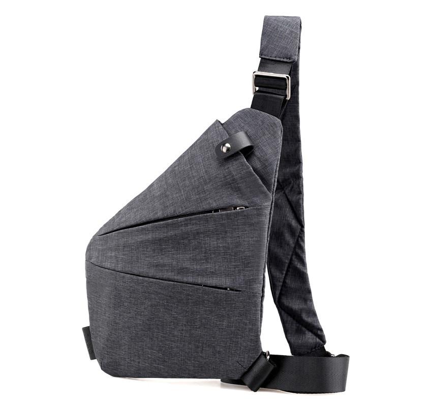 Чоловіча водонепронецаемая сумка Cross Body 6016 Месенджер протикрадій на плече рюкзак слінг Сірий