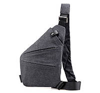 Чоловіча водонепронецаемая сумка Cross Body 6016 Месенджер протикрадій на плече рюкзак слінг Сірий, фото 1