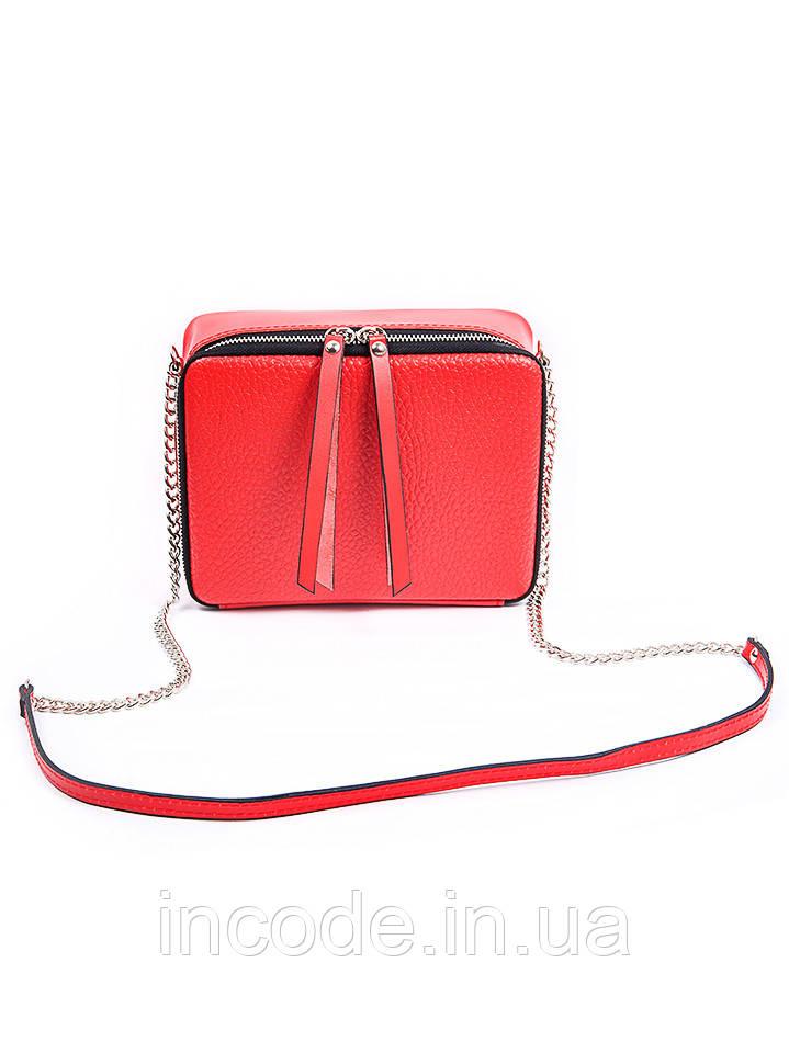 Клатч кожаный красный 7086-11