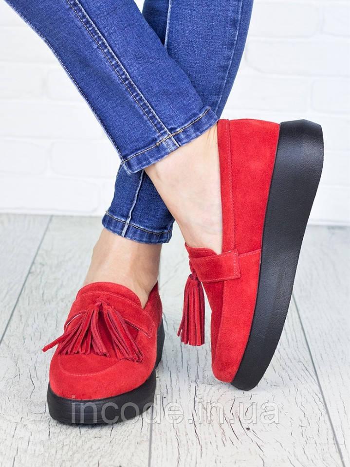 Туфли лоферы красная замша 7148-28