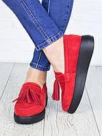 Туфли лоферы красная замша 7148-28, фото 1