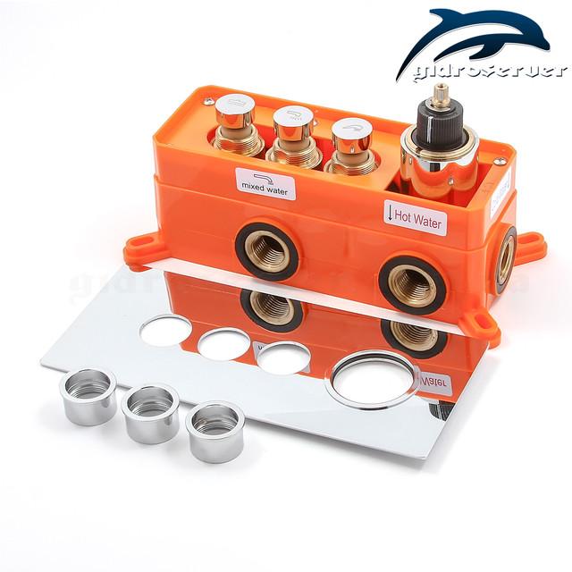 Смеситель скрытого монтажа для душа термостатический GTB-03 с горизонтальной установкой.