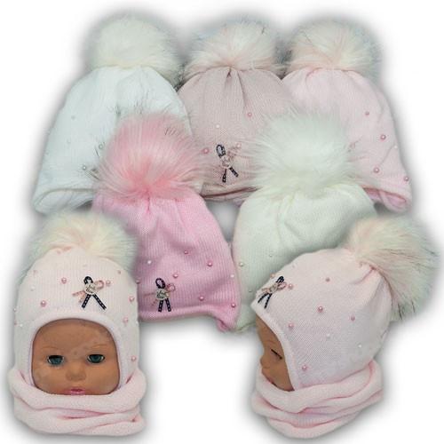 ОПТ Детский комплект - шапка и шарф (хомут) для девочки, р. 42-44 (5шт/набор)