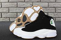 Кроссовки мужские Nike Jordan 13 в стиле Найк Джордан, натуральная кожа, текстиль код KD-11713.Бело-черные