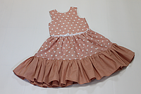 Платье на девочку с воланами в сердечки цвета пудра (персик)
