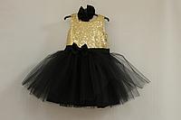 Нарядное платье на девочку золотые пайтеки с черным фатином