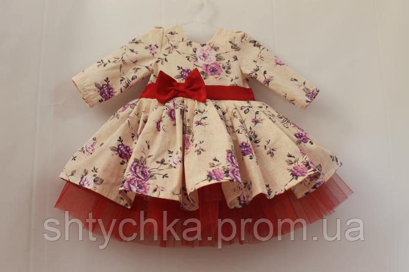 Нарядное платье на девочку с рукавами и красным фатином № 30