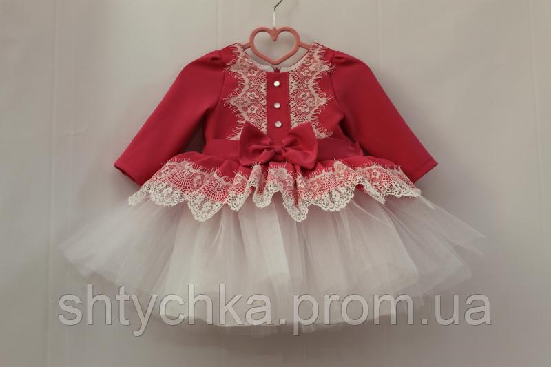 Нарядное платье на девочку с рукавами № 32