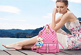 Рюкзак-сумка стьобаний рожевий, фото 2