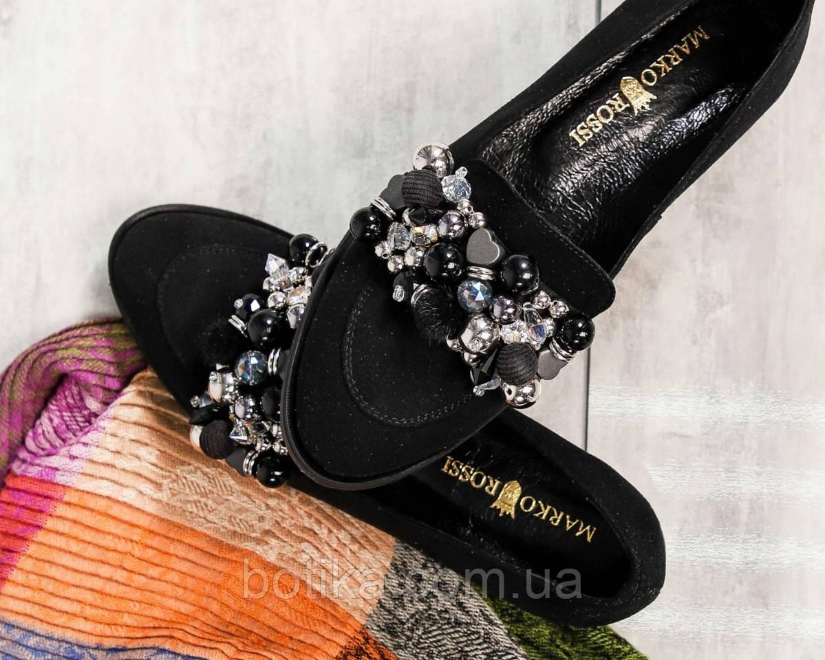 Шикарные женские туфли  лоферы с декором