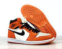 Кроссовки мужские Nike Air Jordan Retro в стиле Найк Джордан,натуральная кожа код 4S-1189. Оранжево-белые