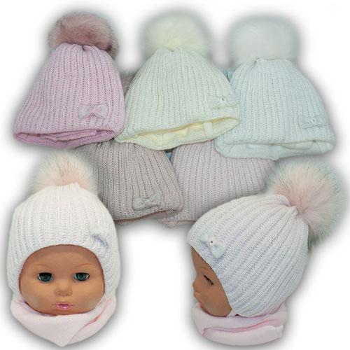 Детский комплект - шапка и шарф (хомут) для девочки, р. 38-40