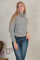 """Женский вязаный свитер под горло""""Soft"""" серый"""
