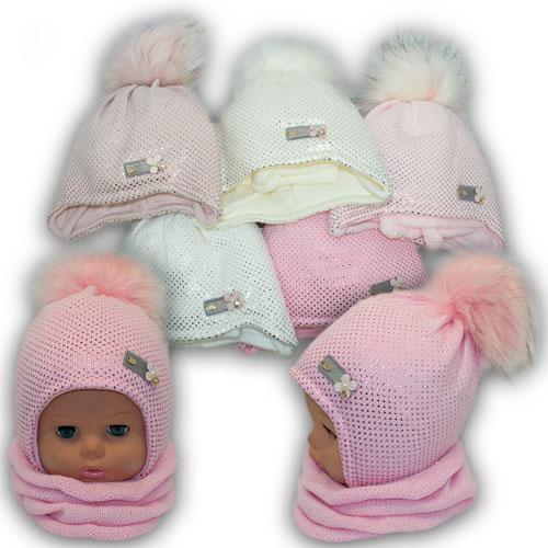 ОПТ Детский комплект - шапка и шарф (хомут) для девочки, р. 46-48 (5шт/набор)