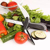 Умный нож Clever Cutter 2 в 1, ножницы для нарезки,  Черный с серым
