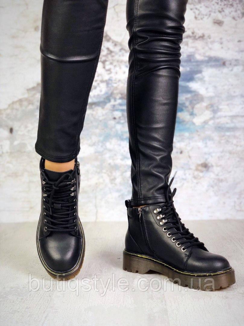 Женские черные ботинки натур.кожа на шнуровке Деми