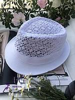 "Шляпа челентанка ""Мегги"" ажурная белый"