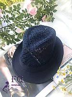 "Шляпа челентанка ""Мегги"" ажурная темно-синий"