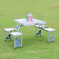 Раскладной стол со  4-мя стульями Travel Table, походный, алюминиевый, фото 1